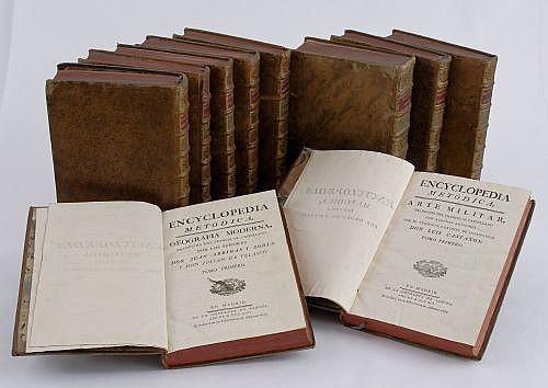 Encyclopedia Metódica. Artes Académicos. Madrid: En la Imprenta de Sancha, 1788, 1791, 1792 y 1794. Con 291 láminas. Pzas: 10.