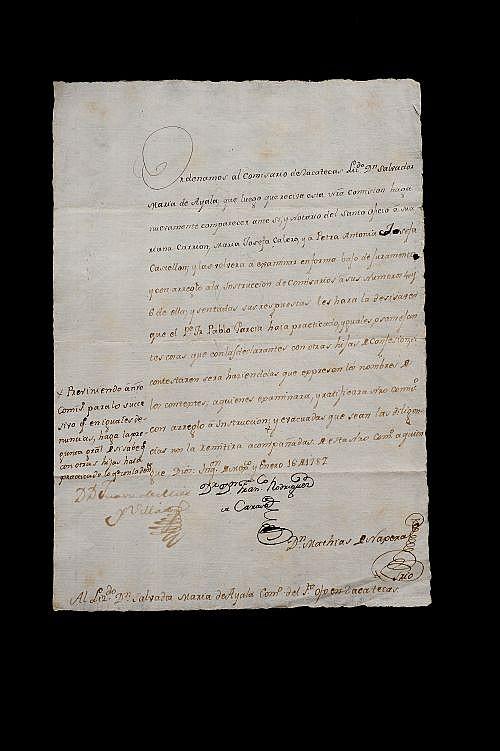 Rodríguez de Carasa, Francisco. Carta dirigida al Lizdo. Dn. Salvador María de Ayala Como. del Sto. Ofo. de Zacatecas. México, 1787.