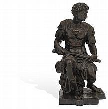 GIULIANO DE MEDICI. MÉXICO, SIGLO XX. Fundición en bronce patinado. Copia de una de las figuras de las tumbas mediceas por Mig...