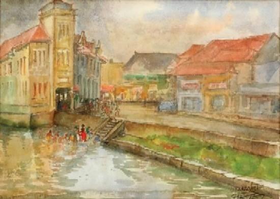 Ignacio Beteta, Djakarta, Firmado Acuarela sobre papel, 31 x 44.5 cm