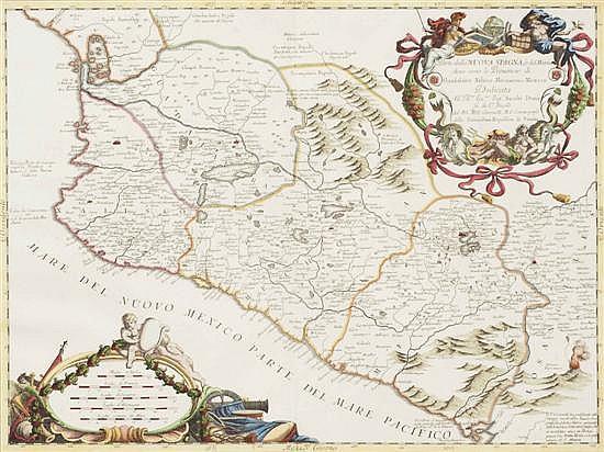Coronelli, Vicenzo Maria. Parte della Nuova Spagna. Venecia: 1690. Mapa grabado, coloreado. 45.5 x 61 cm. Enmarcado.