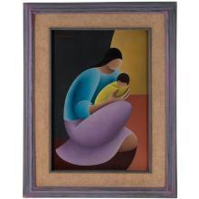 Victor Manuel Cancino. Madre e hijo. Firmada en el ángulo superior izquierdo. Óleo sobre tela. Enmarcado en madera tallada.