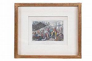 """JOHANN MORTIZ RUGENDAS (ALEMANIA, 1802 - 1858) """"CIUDADANOS Y GENTE DEL MERCADO"""" ALEMANIA, FINALES DEL SIGLO XIX. Grabado."""