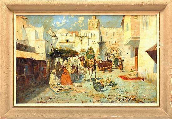 José Navarro Llorens (1867 – 1923). Zoco árabe. Escuela española. Firmado y fechado 1900. Óleo sobre lienzo. 41 x 64 cm.