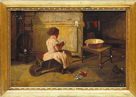 George Aikman (1831 - 1905). Niña lavando en palangana.  Escuela escocesa. Firmado. Óleo sobre lienzo. 40 x 60 cm.