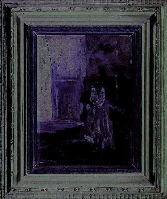 Eduardo Chicharro (1873 – 1949). Niña junto a la puerta. Escuela española. Firmado y fechado 98. Óleo sobre tablero. 31.5 x 23 cm.