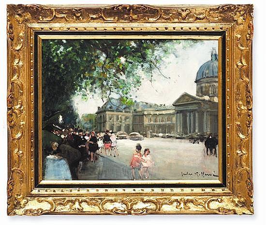 Jules René Herve (1887 - 1981). Vista parisina. Escuela francesa. Firmado. Óleo sobre lienzo. 31.5 x 40 cm.
