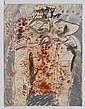 GILBERTO ACEVES NAVARRO, Personaje con fondo gris, Firmado y fechado 10 07 77. Acrílico y carboncillo sobre papel, 65 x 50 cm