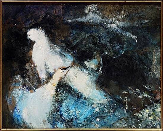 JOSÉ GARCÍA OCEJO, Giselle, Firmada y fechada Mex. 68. Mixta sobre madera, 49 x 59 cm