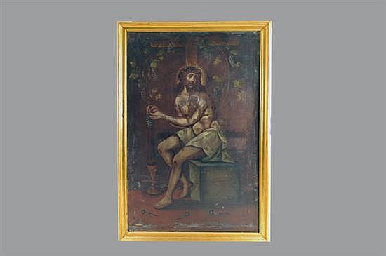 Anónimo. México, Siglo XIX. Alegoría a la transubstanciación. Óleo sobre lienzo. Enmarcado. Presenta restauraciones.