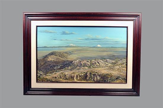 Carlos Pelestor. Sin título (Vista del Valle de México). Óleo sobre tela. Enmarcado, firmado y sin fechar. Dimensiones: 75 x 120 cm.
