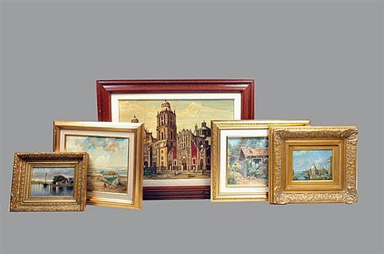 Pinturas. Óleos y acuarela. Diferentes autores. Consta de: 3 Paisajes marítimos, fachada y vista de la Catedral Metropolitana. 5 pz.