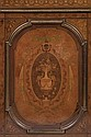 CÓMODA. FRANCIA, FINALES S.XIX. Madera con marquetería de diseño torsal, floral y dos mascarones de bronce dorado. 179.5 x 50 x 118.5cm
