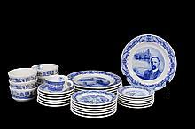 Vajilla. Origen mexicano. En cerámica Anfora. Diseño conmemorativo de los 100 de la Revolución. Servicio para 6 personas. Piezas: 36
