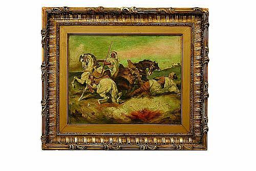 Atribuido a Federico de Madrazo y Kuntz (España, 1815 – 1894). Jinetes árabes. Óleo sobre tela. Firmado y fechado 1870. 32 x 40.5 cm.