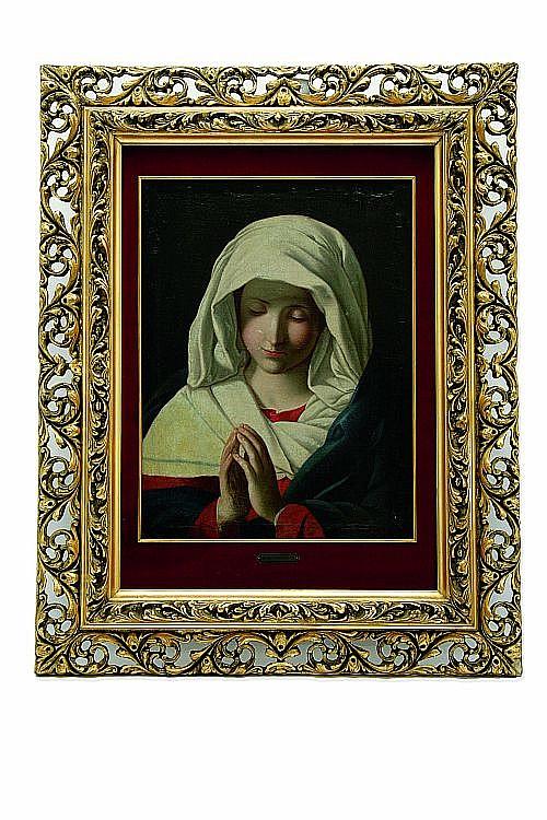 Miguel Cabrera (México, 1695 - 1768). Virgen de la Soledad. Firmado.  Óleo sobre tela. 55 x 41 cm.