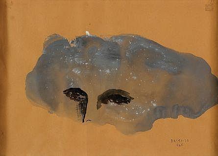 Sofía Bassi, Ojos, Firmado y fechado, ELC 1970, Gouache sobre papel, 23 x 32 cm, Adquirido directamente del artista, Col. part. CD Méx.