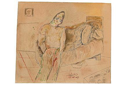 José Luis Cuevas, Pareja en una habitación, Firmado y fechado, 27-oct-1984, Tinta sobre papel, 30.4 x 35.7 cm