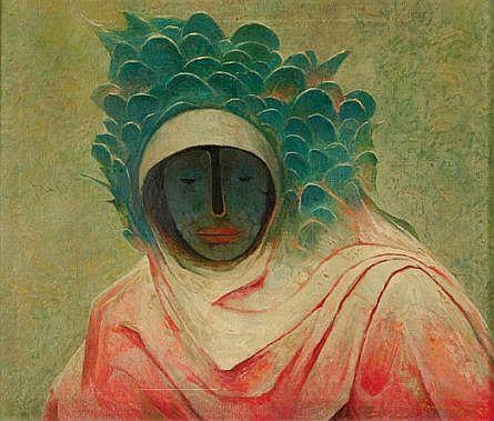 Guillermo Meza, Espíritu señor de la tormenta, Firmado y fechado, 1971, Óleo sobre tela, 60 X 70 cm, Adquirido directamente del artista