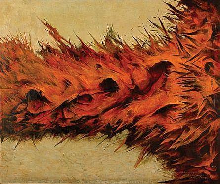 Guillermo Meza, Nuevo nacimiento del hombre, Firmado y fechado, 14 de feb. 1971, Óleo sobre tela, 95 x 115 cm, directa/ del artista