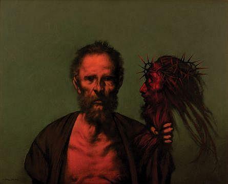 Rafael Coronel, Anciano con rostro de Cristo, Firmado, Óleo sobre tela, 80 x 100 cm, Los recursos son en beneficio de Fundación VIDA