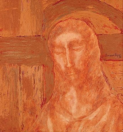 Francisco Corzas, Rostro de Cristo, Firmado y fechado, 1976, Óleo sobre tela, 78.5 x 73.5, los recursos son en beneficio Fundación VIDA