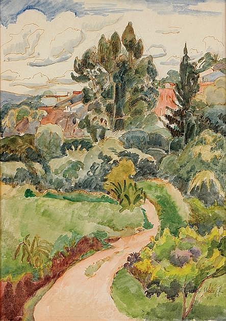 Angelina Beloff, Cuernavaca, Firmado y fechado, 1946, Acuarela sobre papel, 34 x 24 cm