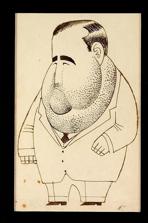 Miguel Covarrubias, Manuel Ávila Camacho, Firmado, Plumón sobre papel, 19 x 12 cm