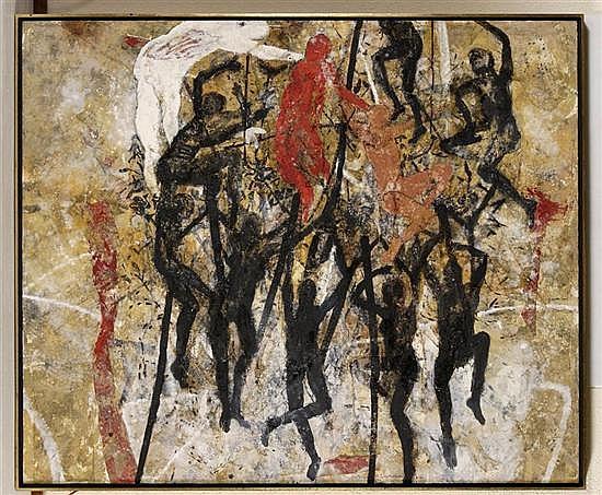 LUIS GRANDA, Todos quieren bailar, Firmado y fechado 2001. Óleo sobre tela, 150 x 180 cm Con certificado de autenticidad