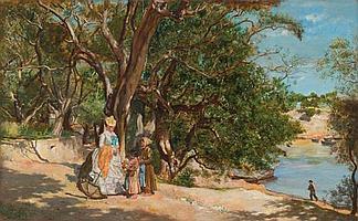 LUCIEN ALPHONSE GROS (FRANCIA, 1845 - 1913). PASEANTE Y VENDEDORAS JUNTO AL LAGO. Ó/madera. Firm. y fech. 1872. 22 x 36 cm.