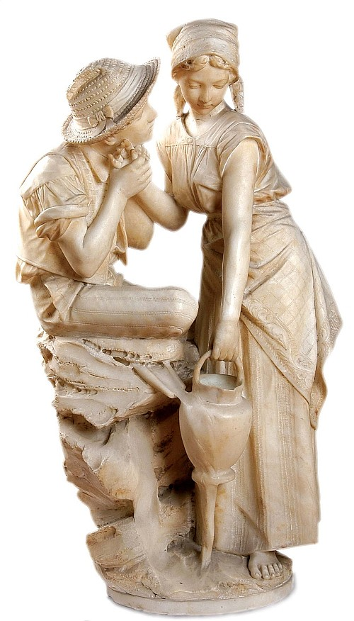 Pietro Bazzanti (1825 - 1895). Esc. italiana. Pareja de campesinos. Talla directa en alabastro. Firmado P. Bazzanti  Firenze. 80 cm alt