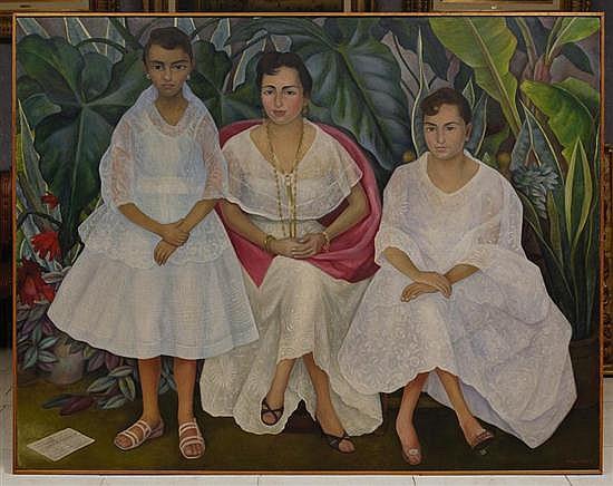 DIEGO RIVERA, Familia Veracruzana con trajes Papantlecas, 1957, Firmado. Óleo sobre tela, 159 x 200.5 cm
