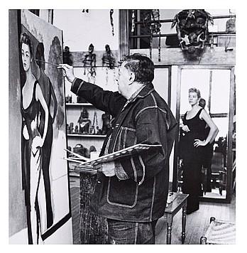 HÉCTOR GARCÍA, Diego Rivera y Silvia Pinal, ciudad de México, ca. 1956, Firmada y fechada c. 50s. Plata sobre gelatina, 29.4 x 27.8 cm