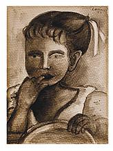 JUAN SORIANO, Retrato de niña, Firmada y fechada 53. Tinta sobre papel, 34 x 24 cm