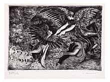 JUAN SORIANO, Perro negro, Firmado. Grabado al aguafuerte XLVII / C, 15 x 21.5 cm