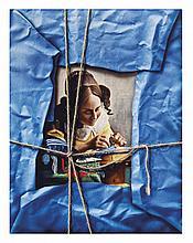MANUEL D' RUGAMA, Sin título, Sin firma. Óleo y acrílico sobre tela con aplicaciones, 90.5 x 70.5 cm