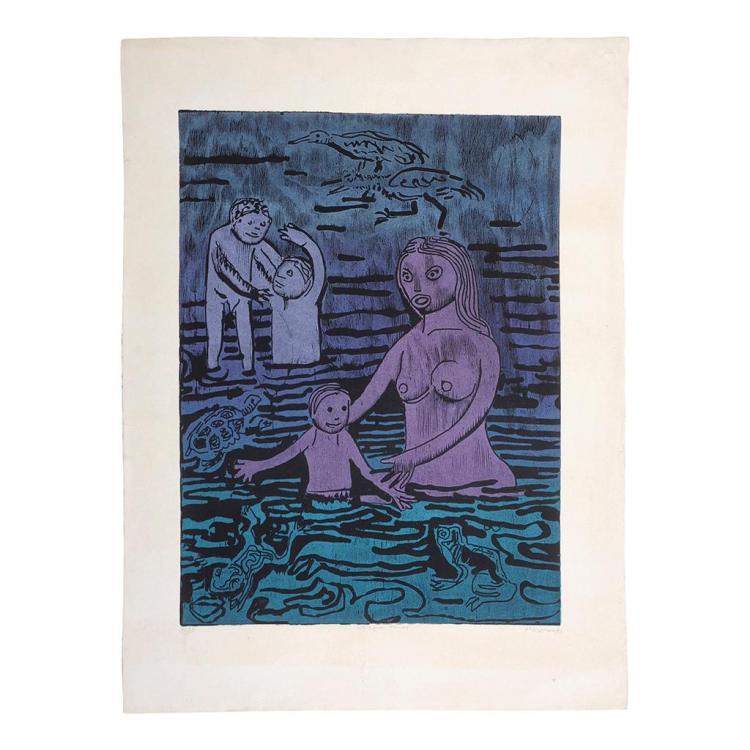 Adolfo Mexiac (Cuto de la Esperanza, Michoacán, 1927 - ). Siglo XX. Al agua ranas. Xilografía. Firmada. Fechada 96'. Serie 36/50.