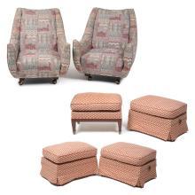 Lote de muebles. Siglo XX. Consta de. a) Par de sillones. Marca Tyasa. b) Cuatro taburetes. Presentan marcas. Piezas: 6