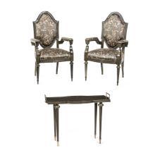 Lote de muebles. Siglo XX. Estilo Luis XV. Elaborados en madera tallada y entintada. Consta de: a) Par de sillones. Otro. Piezas: 3