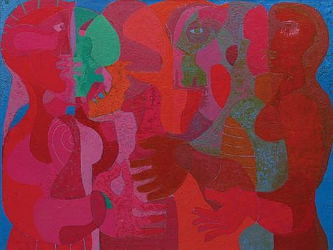 PEDRO CORONEL, Personajes, Óleo sobre tela Firmado y fechado, Mex. 1983, 130 x 170 cm.