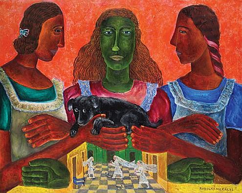 RODOLFO MORALES, Mujeres con perro, Firmado y fechado 91 Óleo sobre tela, 80 x 100 cm.