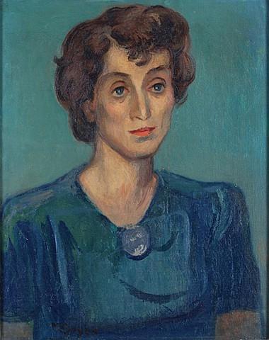 MOSES SOYER, Retrato de dama, Firmado Óleo sobre tela Reentelado, 50 x 40 cm.