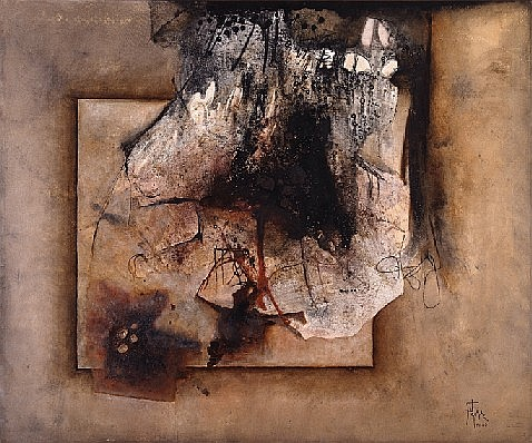 MANUEL FELGUÉREZ, Del sonido a la piedra, Firmado PV QQ Óleo sobre tela, 100 x 120 cm.
