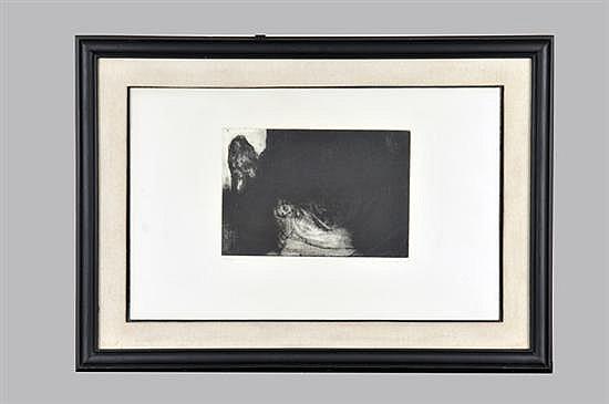 Gustavo Aceves. Mujer recostada. Grabado al Aguafuerte sobre papel, serie 52/75. Enmarcado y firmado. Dimensiones: 23 x 34 cm.