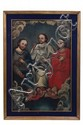 Anónimo. Origen mexicano, Siglo XIX. Santísima Trinidad. Óleo sobre tela. Presenta detalles de conservación y restauraciones.