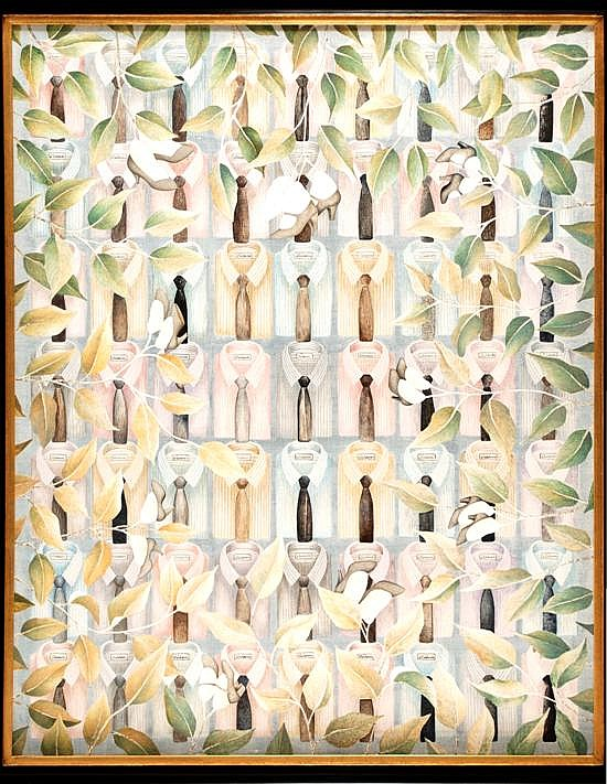Juan Calderón, The silver small shoes, 1987, Signedm dated on the back side October 1987, Acrylic on Canvas.