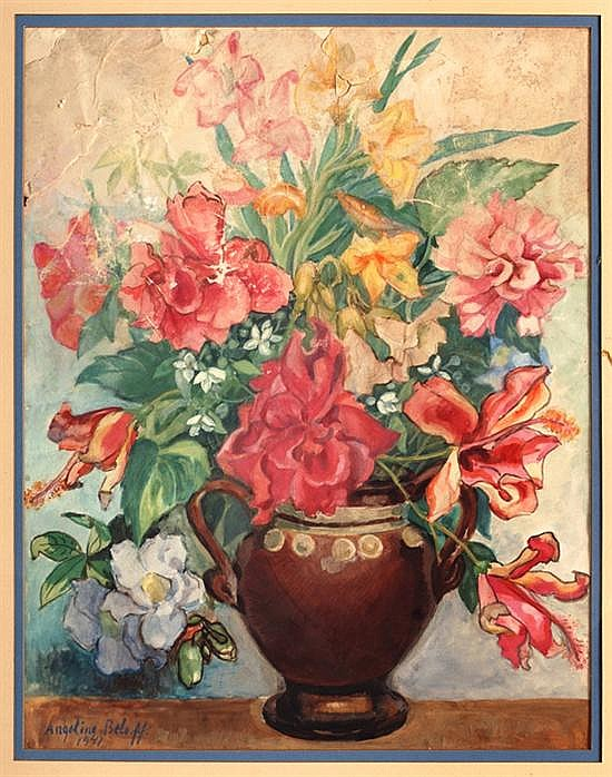Angelina Beloff, Vase, Signed and dated 41, Gouache on paper