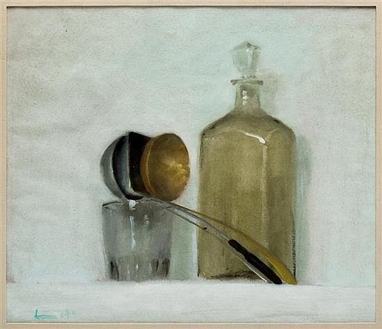 LAURO LÓPEZ, Sin título (bodegón), Firmado, Pútrido y óleo sobre papel, 44.5 x 51.4 cm