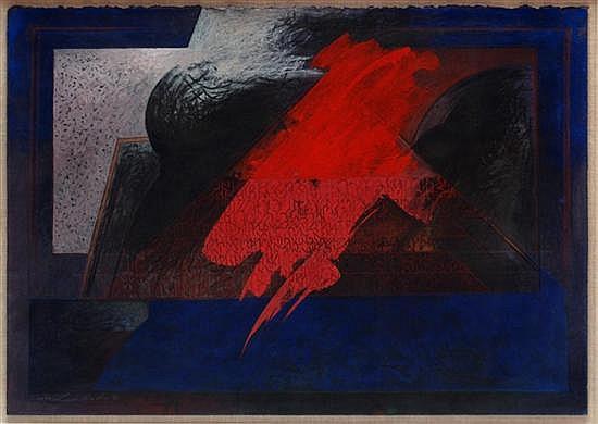 ISMAEL GUARDADO, Sin título, Firmada y fechada 90, Mixta sobre papel, 45.5 x 63 cm