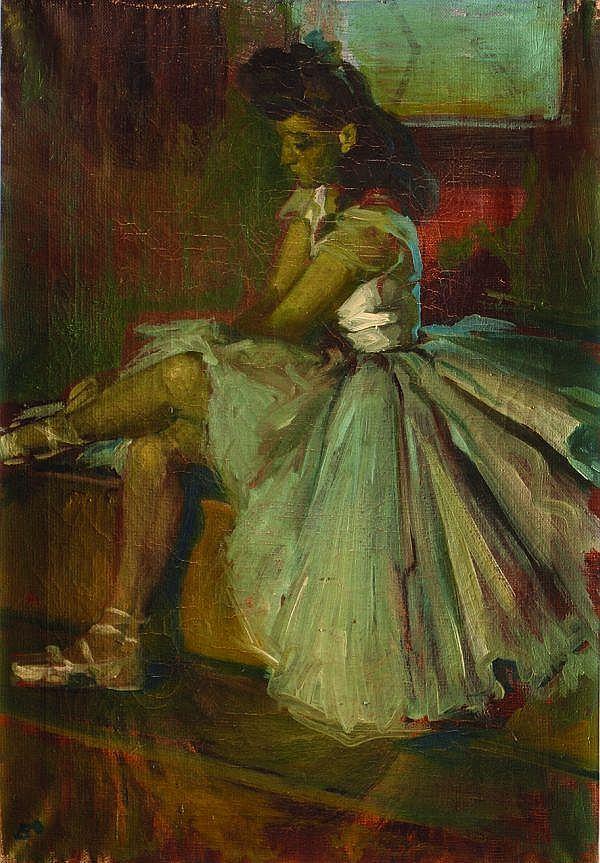 JOSÉ BARDASANO, Bailarina, Firmado, Óleo sobre tela, 50 x 35 cm